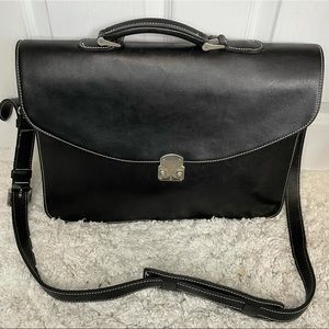 Roots Black Leather Large Classic Briefcase